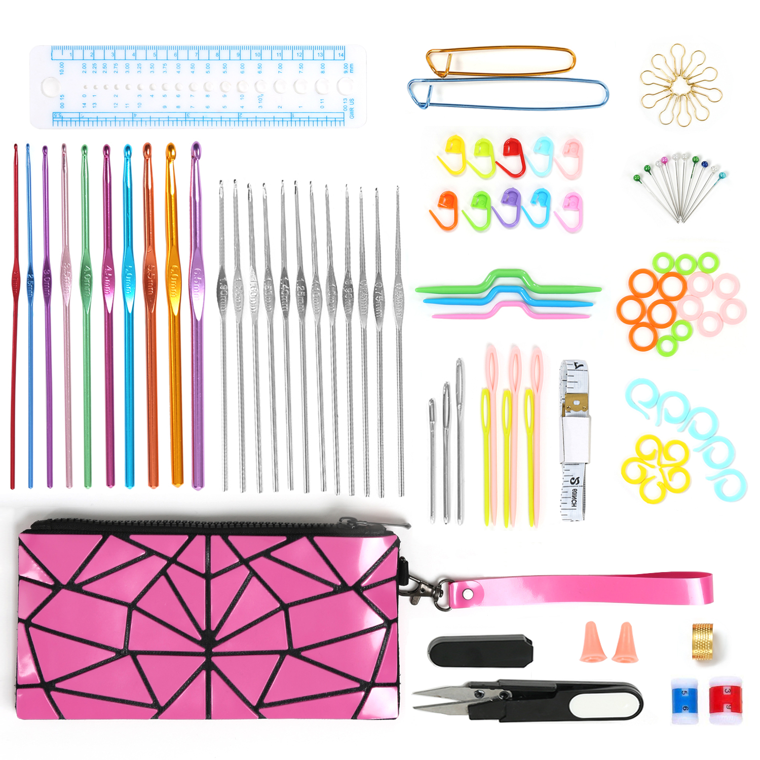 100pcs Crochet Hooks Set Aluminum Needles With Tools Accessories for Knitting