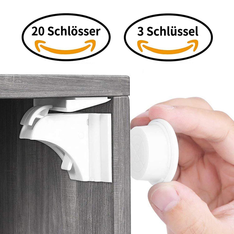 Unsichtbare Kindersicherung Schrank Ohne Bohren und Schrauben Magnetisches Schrankschloss 12 Schl/össer mit 2 Schl/üssel