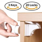 Norjews Child & Baby Safety Magnetic Cupboard Locks - Bonus Installation Cradle and Instruction Video, Baby Proof Cabinet Locks Protect Your Kids & Toddlers, No Tools Or Screws, 20 Locks & 3 Keys