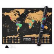 Norjews Scratch Off Map of The World, Detailed World Map Poster with Capitals, States, Cities, Personalised Travel Map Tracks Your Adventures, Bonus Scratcher and Magnifying Glass (55 x 42cm)